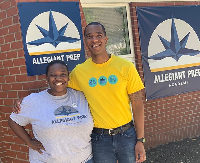 Our Lead Founder, Arielle Peterson spent time with the teachers and leaders of @allegiantprep learning what it takes to begin the school year strong. She was even willing to don an APA shirt, though she kept PHPCS close to her heart with a pin. 😉 #educationisprimary #CharterSchool #Academics #Access #Impact