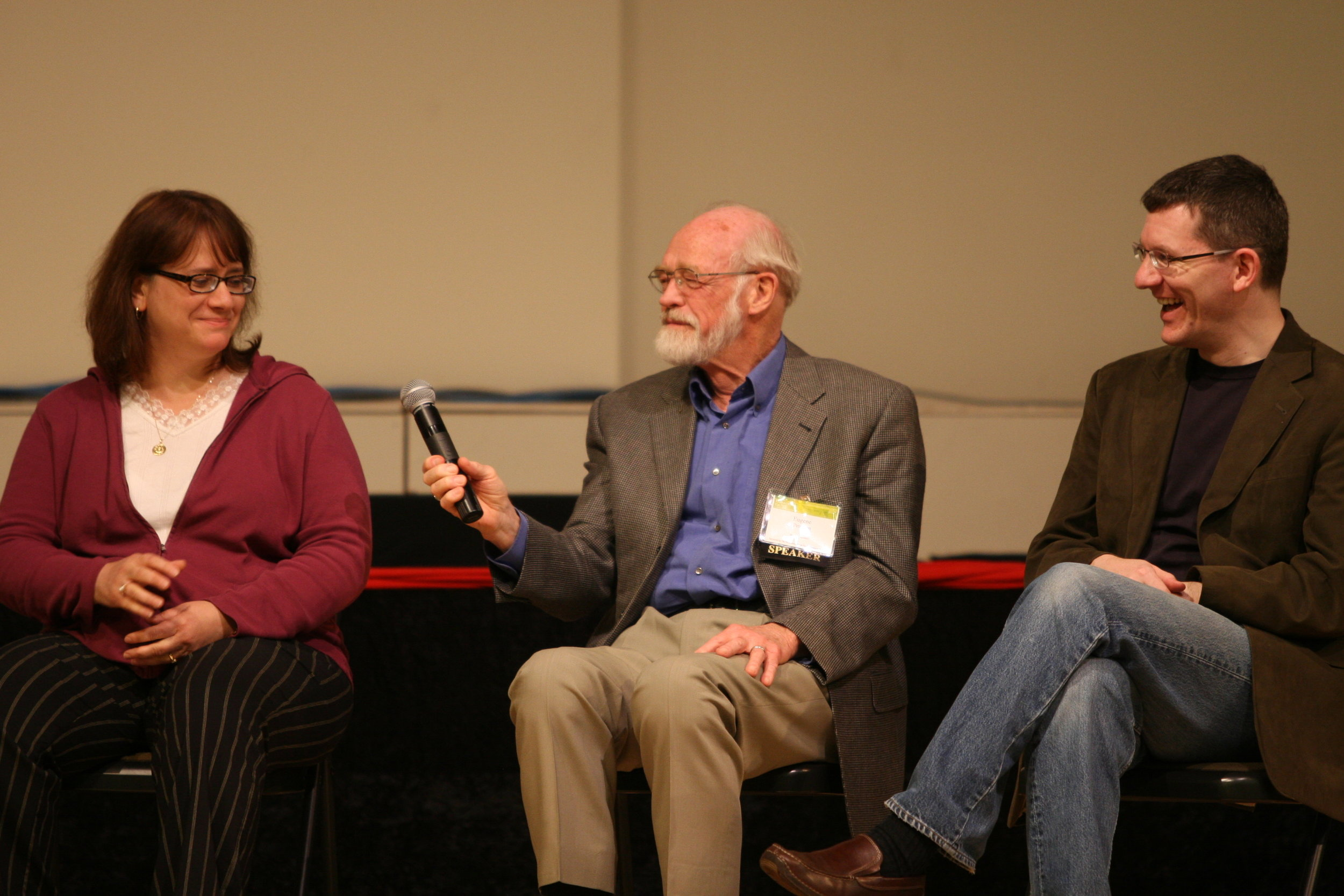 Barbara Nicolosi, Eugene Peterson, and Andy Crouch in a panel discussion at the Transforming Culture conference.