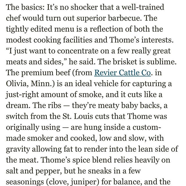 Thanks for the write up, @startribune! BBQ in this town is getting better and better every day. Read the full article at the link in our bio. 🍖