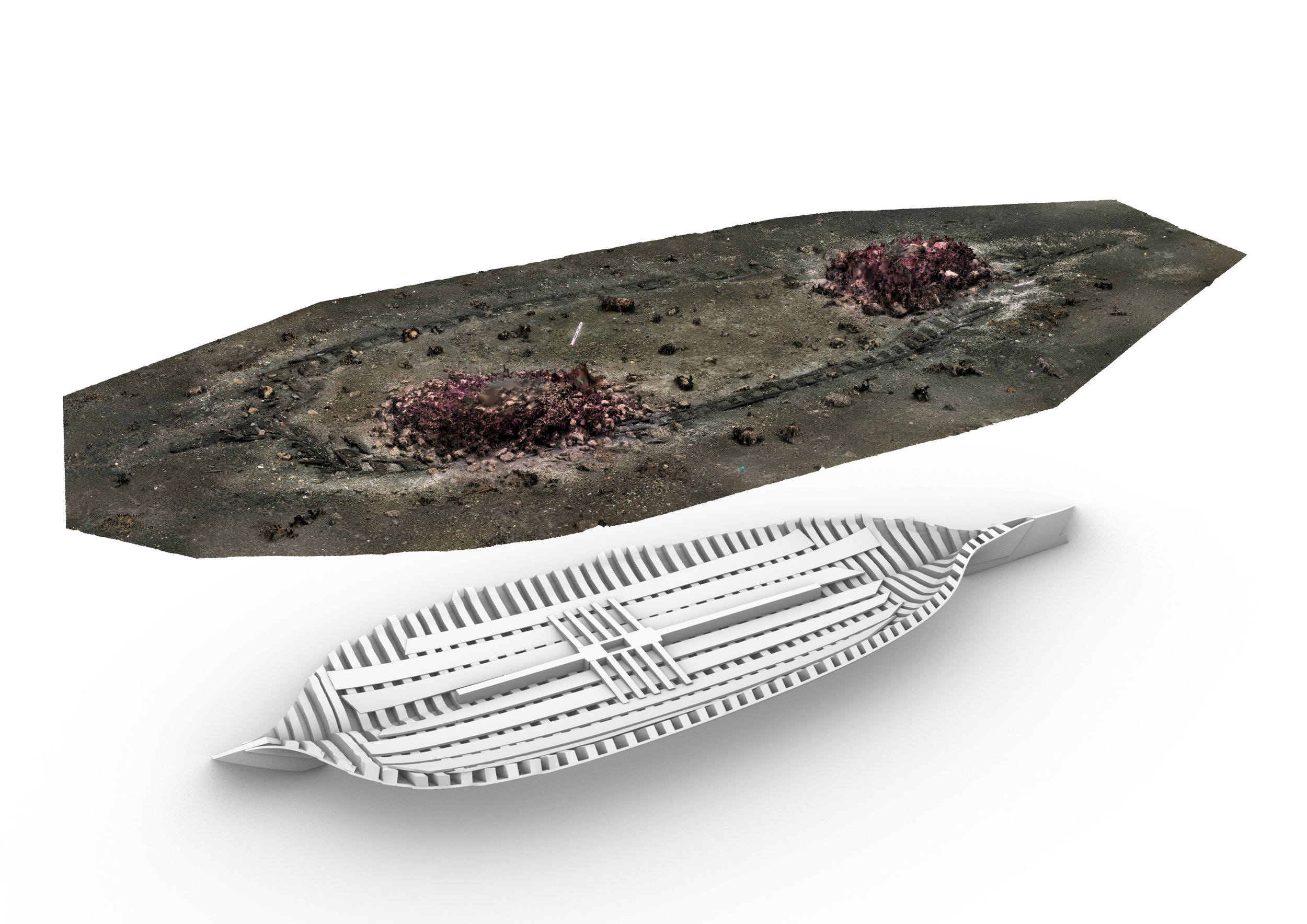 Over - vraket stikker såvidt opp av mudderet i sjøbunnen. Under har vi laget en illustrasjon av hvor mye av vraket vi tror finnes bevart. M.Ditta/MUST