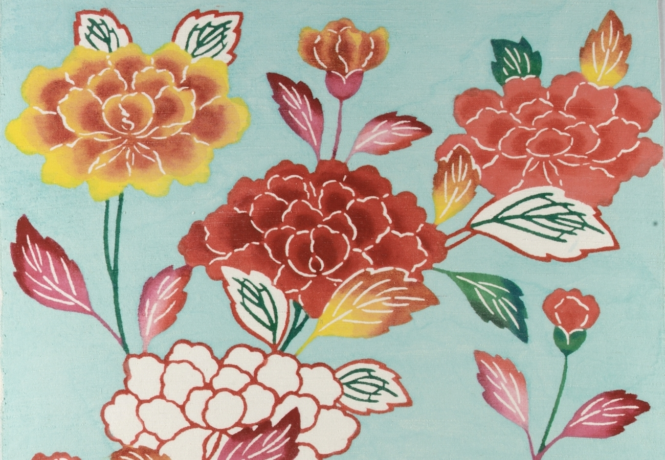 """Portion of """"Bingata Panel with Tree Peonies,"""" artist unknown"""