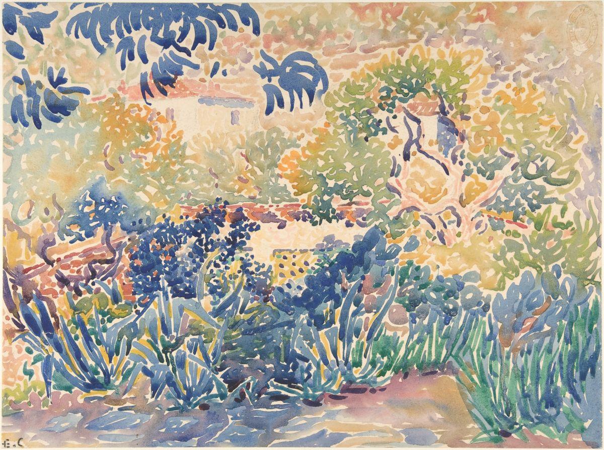 """""""The Artist's Garden at Saint-Clair"""" by Henri-Edmond Cross"""