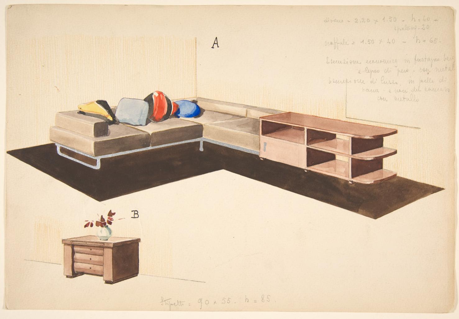 """""""Divano, seoffale, e stipetto"""" by Guglielmo Ulrich"""