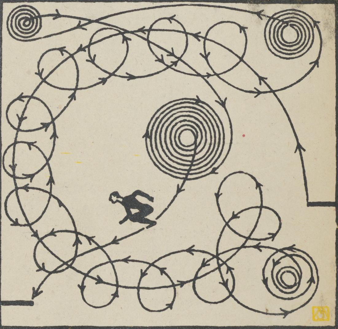 """Varietenummer 9: Aldo Mario Brasso, Todessprungkünstler"" by Moriz Jung"