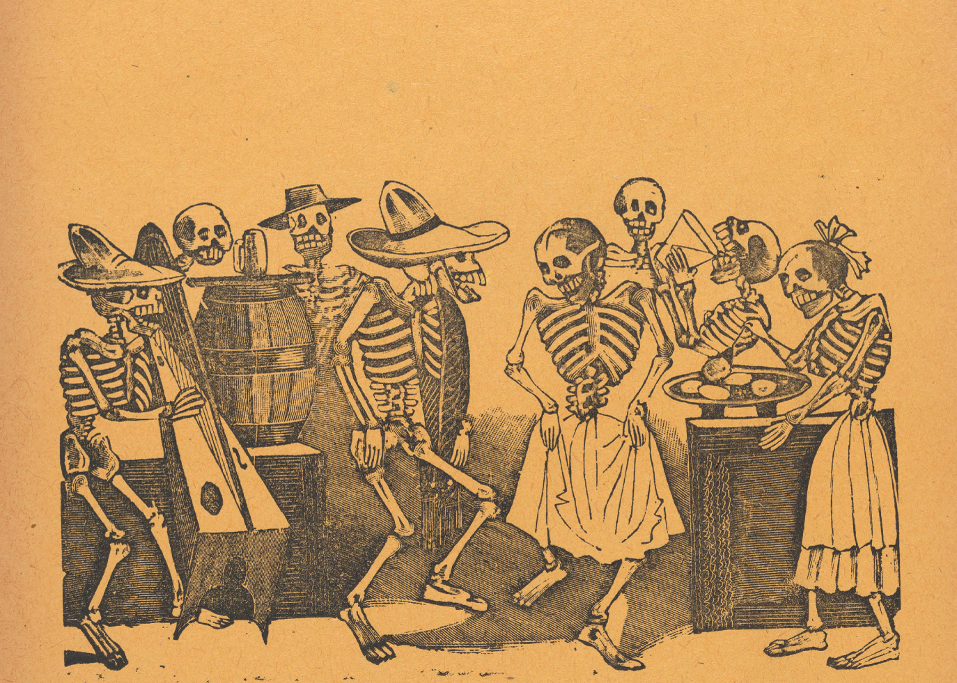 Page 8: skeletons dancing, from '36 Grabados' by José Guadalupe Posada