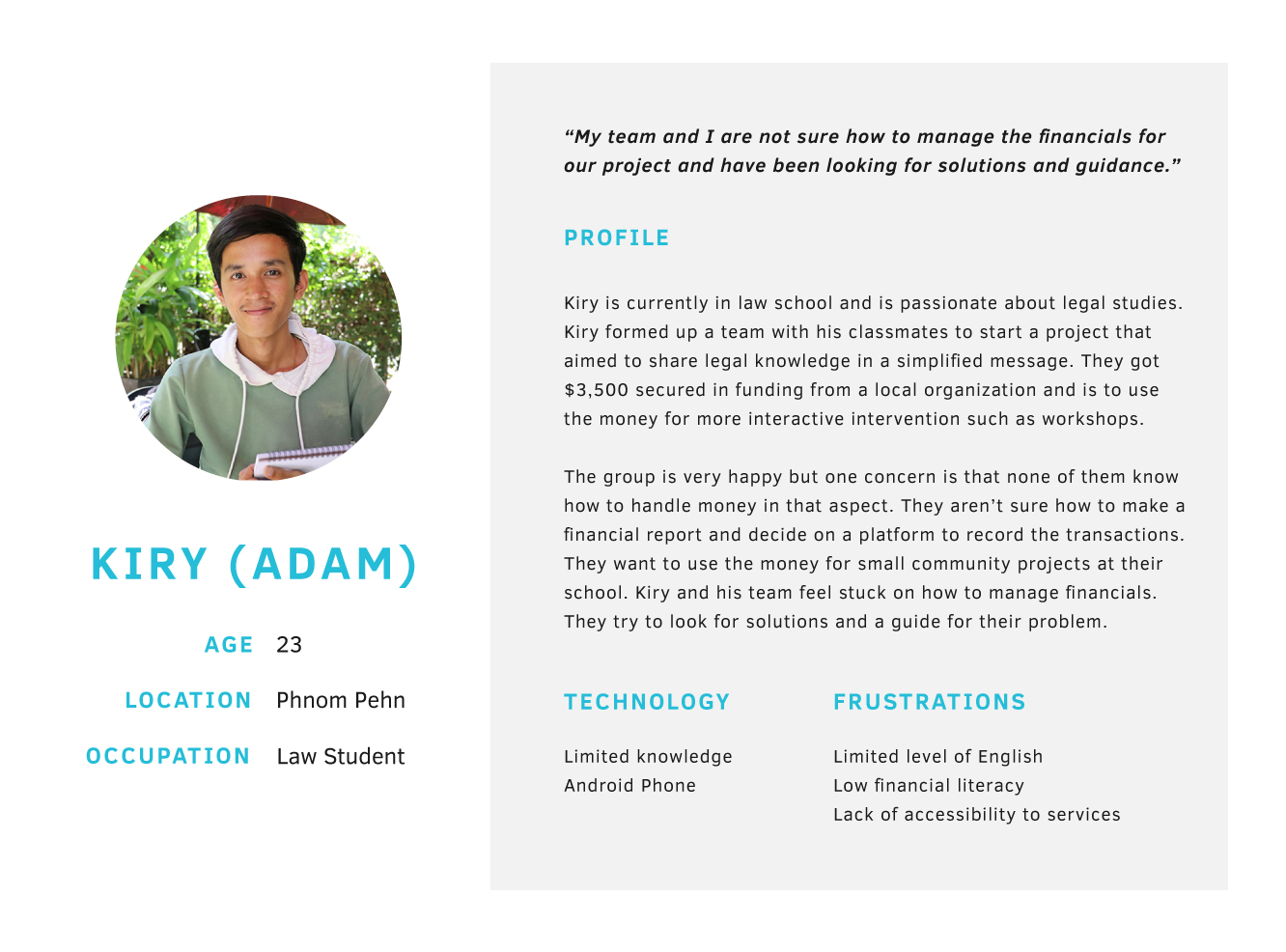 Our persona, Kiry (Adam)