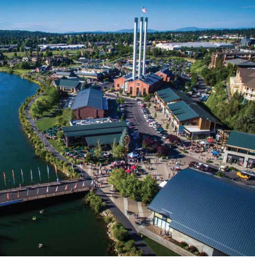 Osprey's-eye view of the Mill District in Bend, Oregon