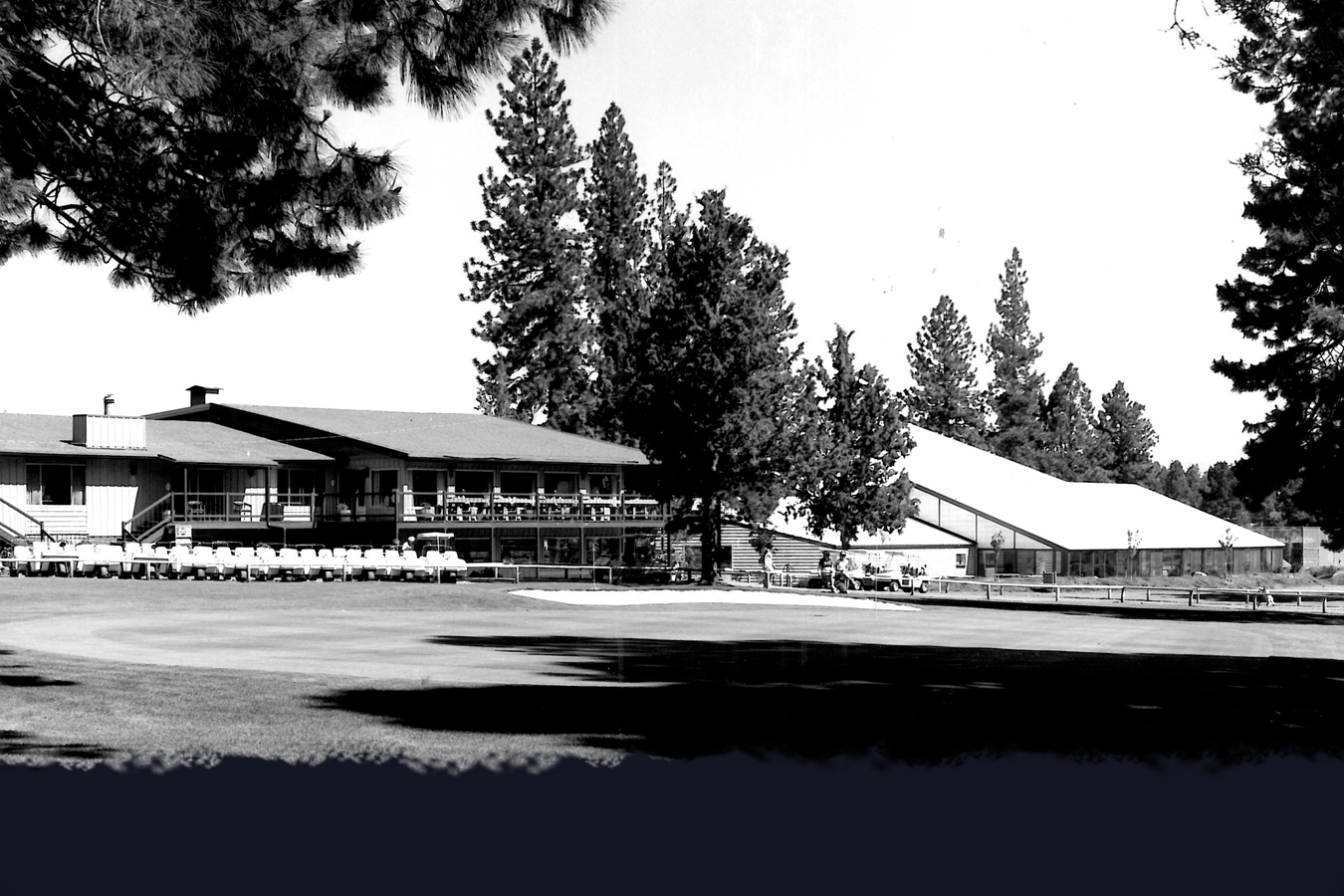 This photo circa 1974 shows the brand new indoor Swim/Tennis Center to the right of the Clubhouse.