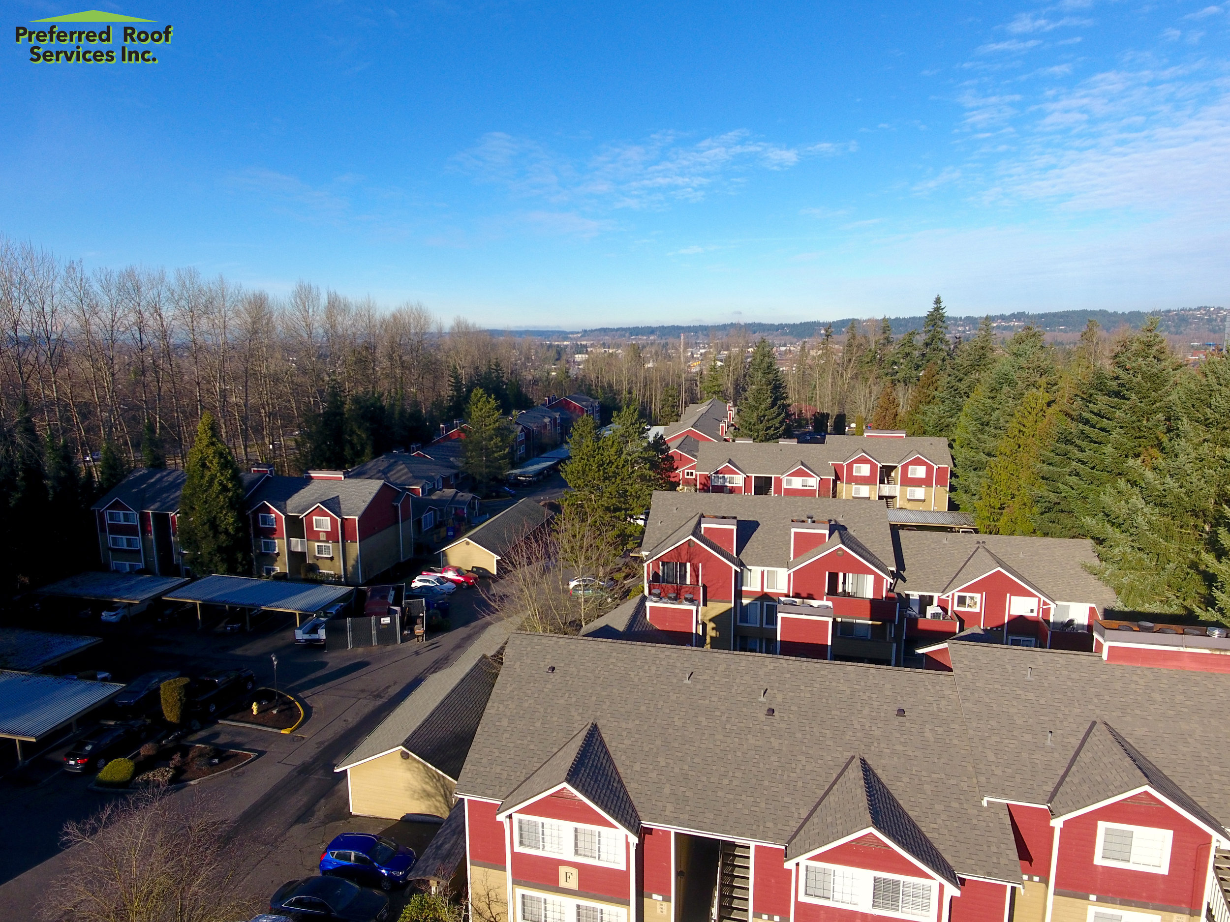 Chestnut Hill Apartments- Steep Slope Asphalt Shingle Reroof, Puyallup, Washington