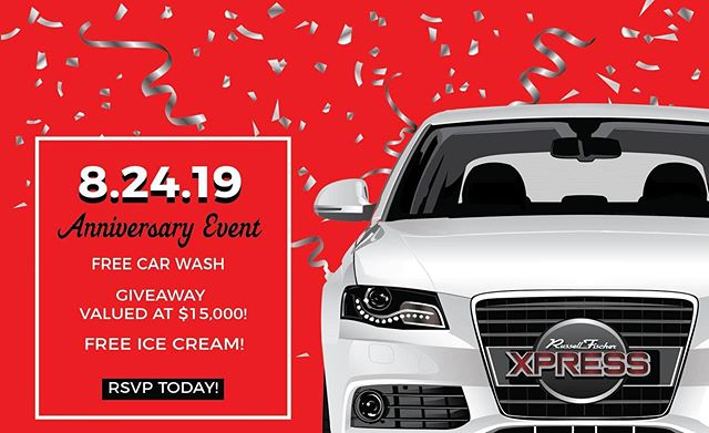 We're giving away #FREE Car Washes & FREE @archiesicecream this Saturday, August 24th at 16061 Beach Blvd. in Huntington Beach! Join us and enter our giveaway valued at $15,000! Register for Your FREE Wash ! Link in bio 👆