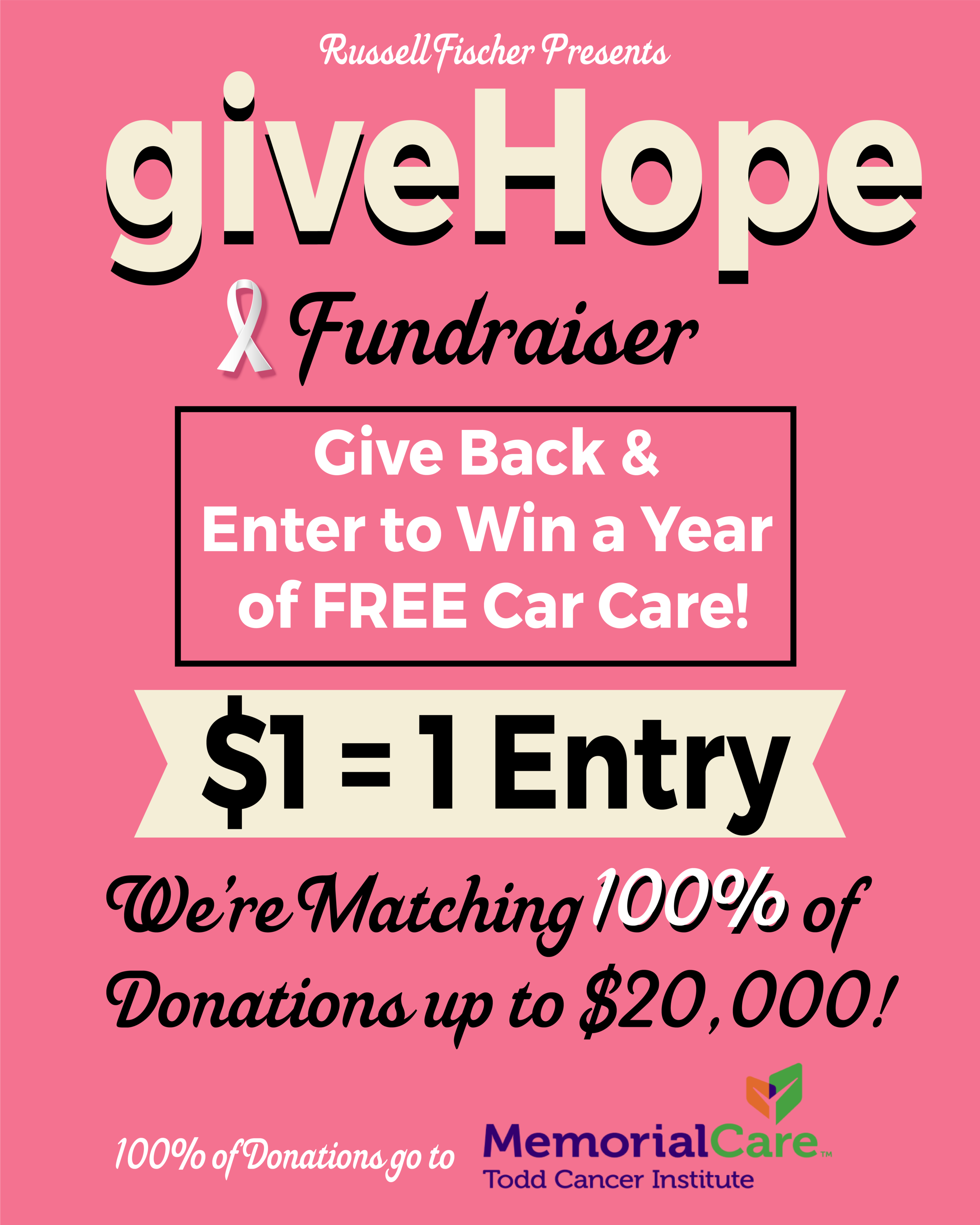 Give hope - Every $1 donated qualifies as 1 entry for our One Year of Car Washes Giveaway! All donations will benefit the Todd Cancer Pavilion at Long Beach Memorial and the many services and programs that are made available under one roof. By giving to this project, you will touch the lives of many patients and families facing cancer or who will face a diagnosis of cancer in the future. Along with your donation, we're matching 100% of donations up to $20,000! Together we can make a difference.