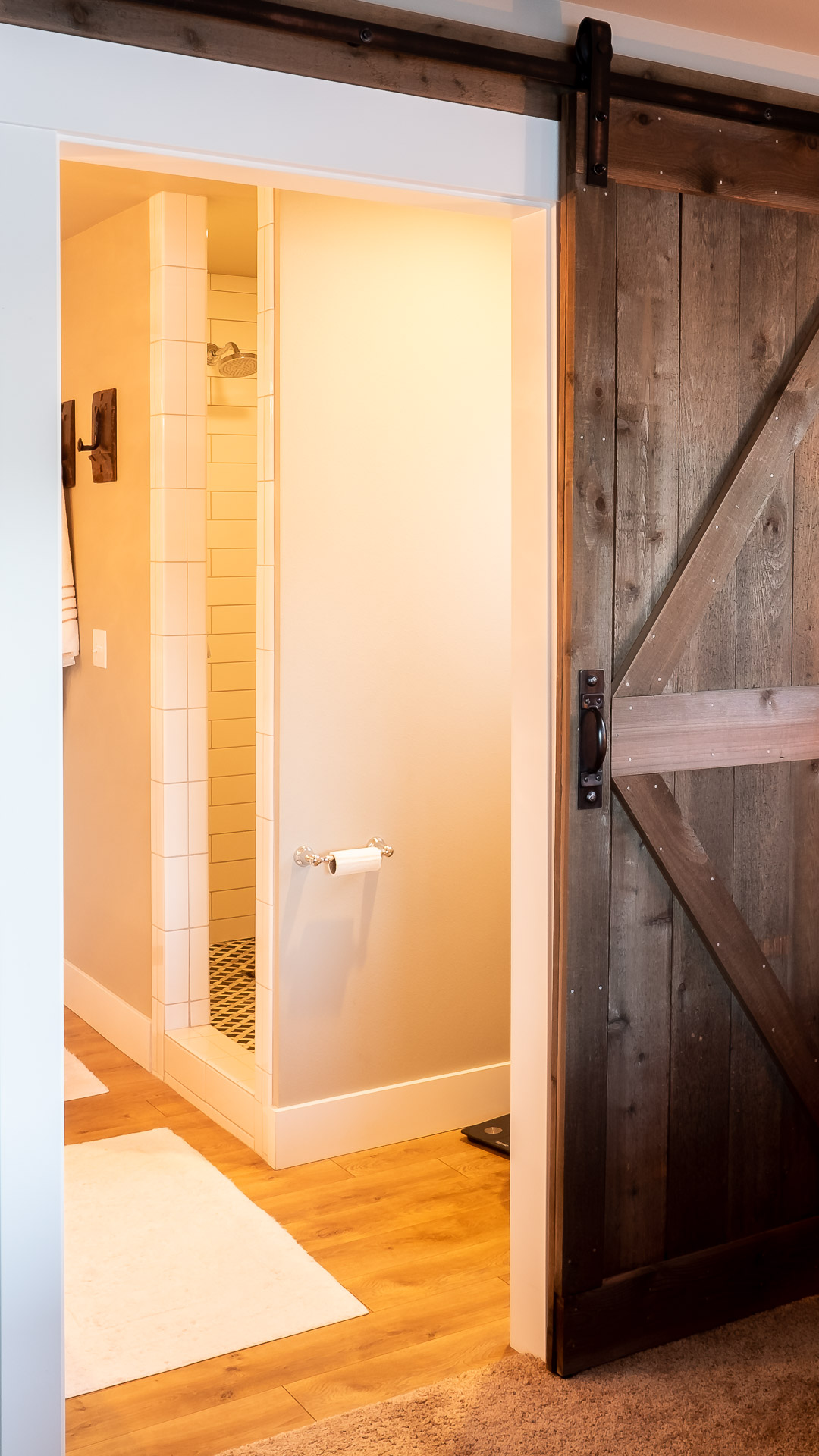 Barn door into Bathroom