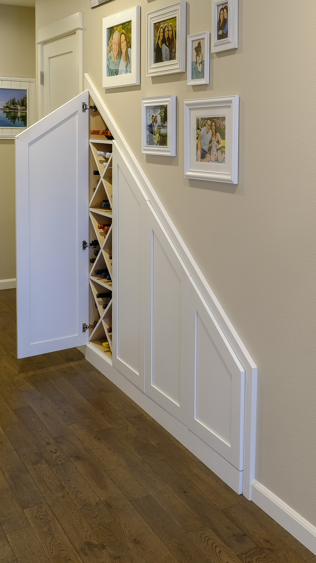 Wine Cellar Storage Tucked under Stairs