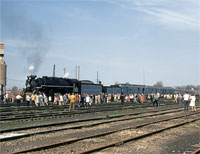 MAY - It's hard to believe, but it has been a half-century since the 759 pulled the Golden Spike Special. Here she is in Conneaut, Ohio, in May 1969 with a hoard of onlookers. - Paul Kutta photo, Thos Gascoigne collection