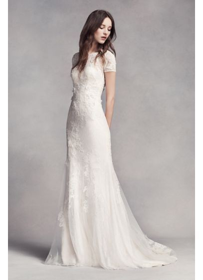 Short Sleeve Lace Gown by Vera Wang