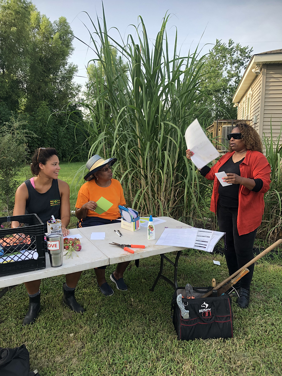 Choppers Mom, sister and our project coordinator Mary, at the Gardens working on a letter writing campaign for other folks in Solitary Confinement. October 2018