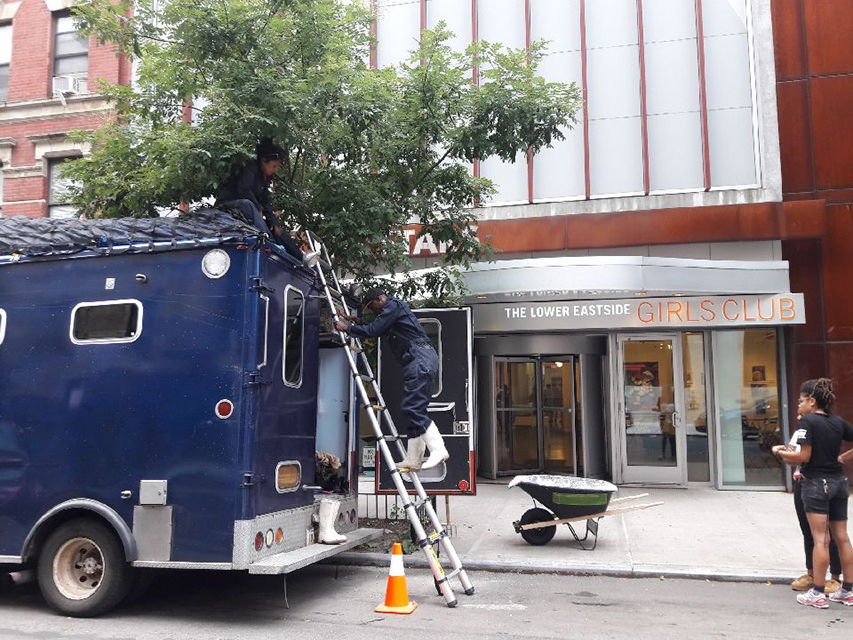 The Garrison parked outside the Lower East Side Girls Club #WeWitIt!