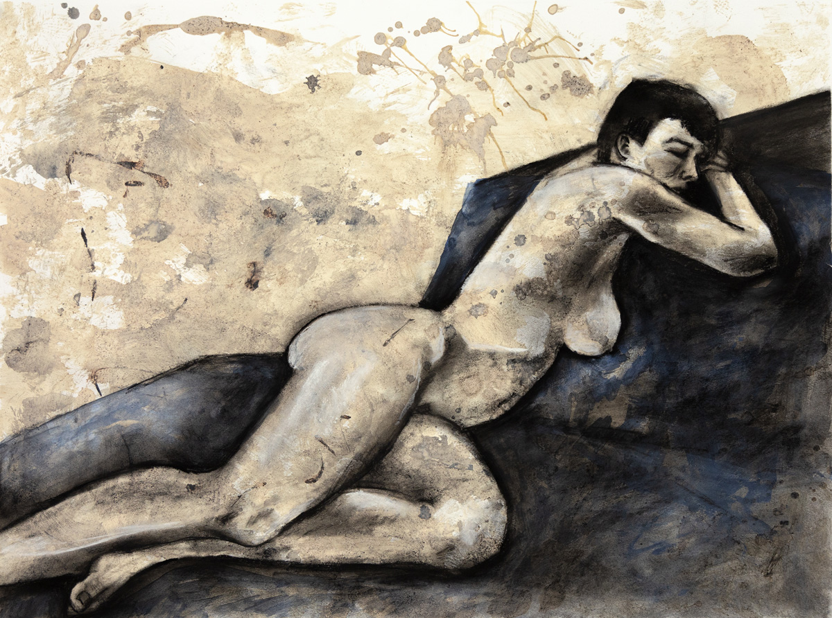 Reclined on Blue   Charcoal, Coffee, Pastel, Gesso  18 x 24  2018