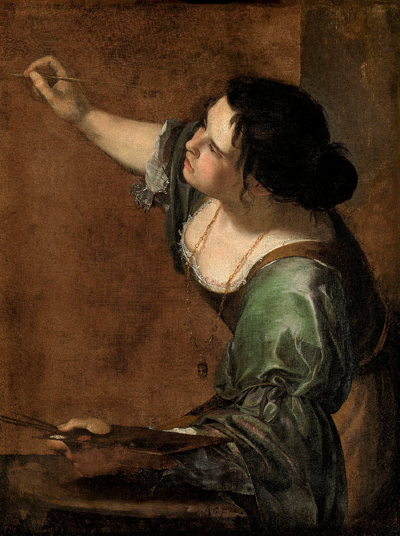 Self-portrait as the Allegory of Painting , 1638-1639  Artemisia Gentileschi  Oil on canvas  38 in x 29 in  Royal Collection Trust