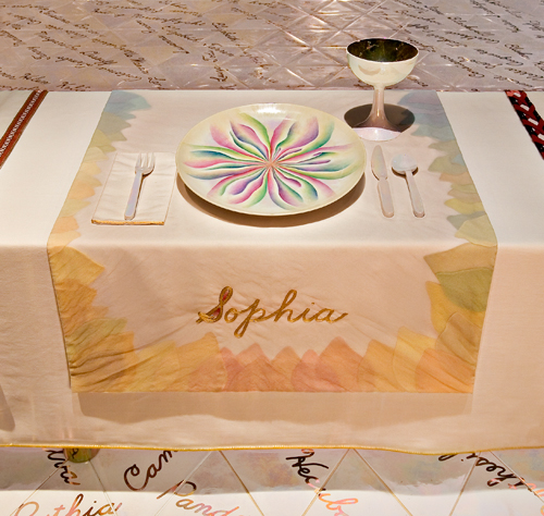 Judy Chicago (American, b. 1939).  The Dinner Party  (Sophia place setting), 1974–79. Mixed media: ceramic, porcelain, textile. Brooklyn Museum, Gift of the Elizabeth A. Sackler Foundation, 2002.10. © Judy Chicago. Photograph by Jook Leung Photography