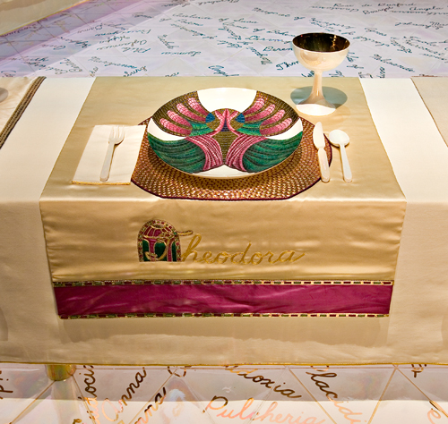 Judy Chicago (American, b. 1939).  The Dinner Party  (Theodora place setting), 1974–79. Mixed media: ceramic, porcelain, textile. Brooklyn Museum, Gift of the Elizabeth A. Sackler Foundation, 2002.10. © Judy Chicago. Photograph by Jook Leung Photography