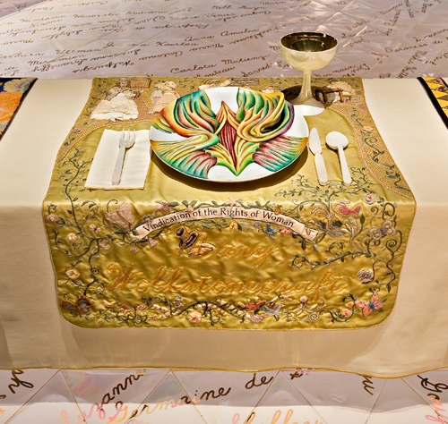 Judy Chicago (American, b. 1939).  The Dinner Party  (Mary Wollstonecraft place setting), 1974–79. Mixed media: ceramic, porcelain, textile. Brooklyn Museum, Gift of the Elizabeth A. Sackler Foundation, 2002.10. © Judy Chicago. Photograph by Jook Leung Photography