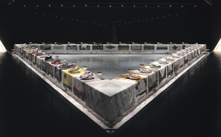 "Judy Chicago, ""The Dinner Party"" (1979), collection of the Brooklyn Museum, gift of the Elizabeth A. Sackler Foundation (© Judy Chicago / Artists Rights Society, ARS, New York; photo © Donald Woodman/ARS NY)"