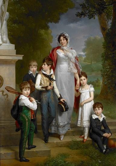 Portrait of Louise-Antoinette-Scholastique Guéhéneuc, Madame la Maréchale Lannes, Duchesse de Montebello, with her Children  Baron François Gérard  1814  102 3/8 x 72 1/16 in  Oil on Canvas  The Museum of Fine Arts, Houston