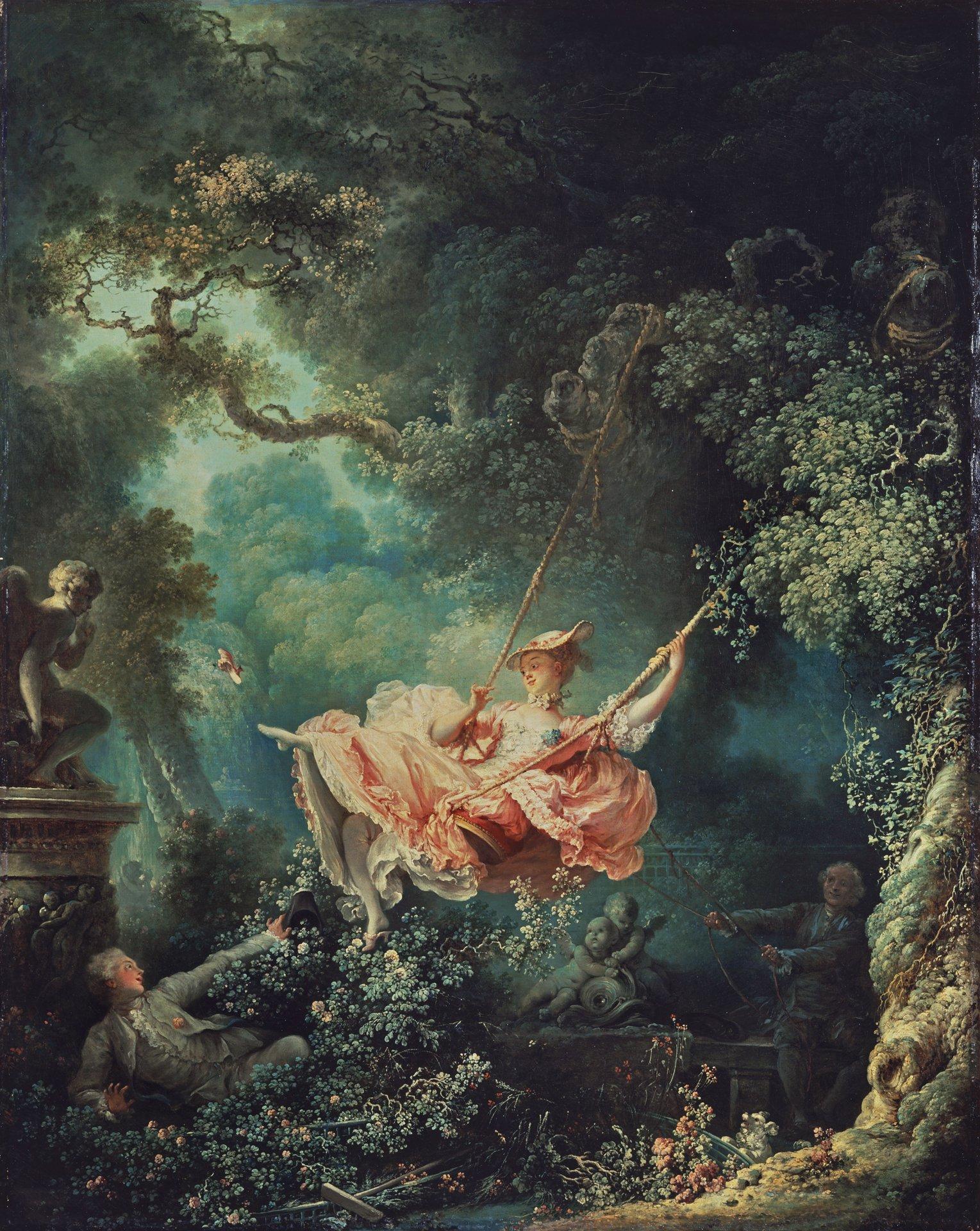 """Les hasards heureux de l'escarpolette (The Swing)  Jean-Honoré Fragonard  1766  Oil on canvas  2' 8"""" x 2' 2""""  Wallace Collection"""