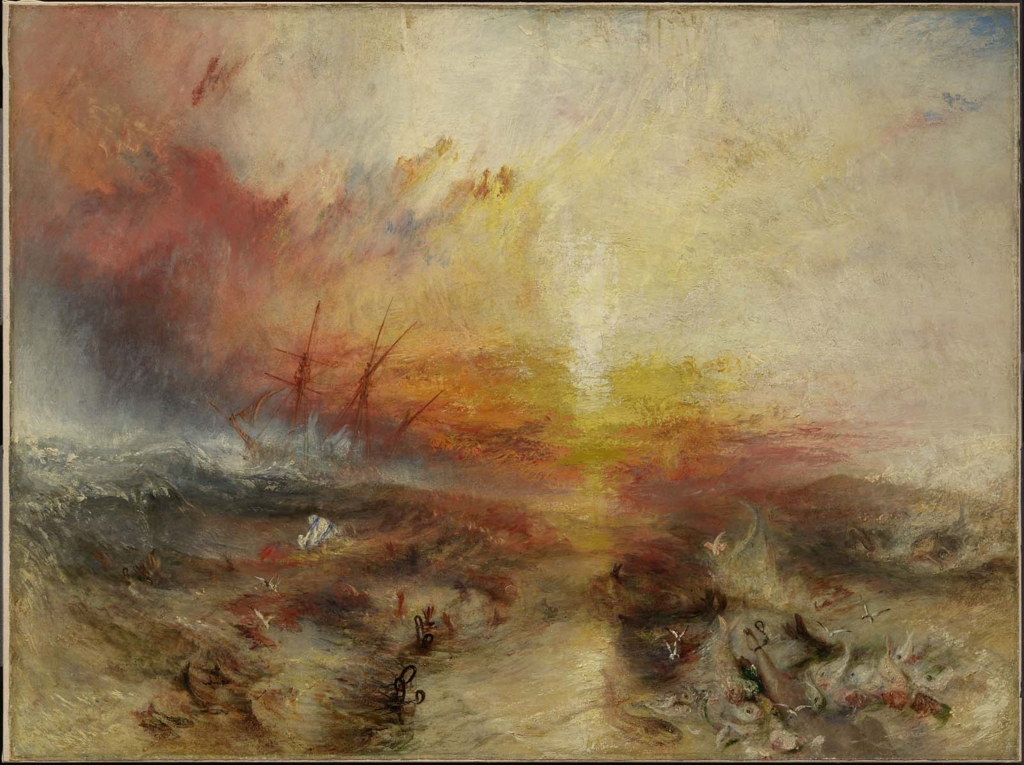 Slave Ship (Slavers Throwing Overboard the Dead and Dying, Typhoon Coming On),  1840  Joseph Mallord William Turner  90.8 x 122.6 cm (35 3/4 x 48 1/4 in.)  Oil on canvas