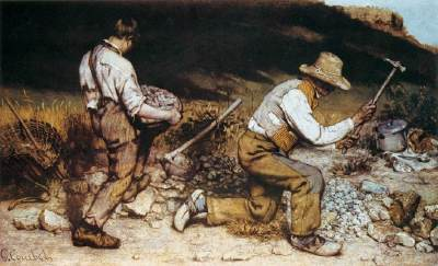 "The Stone Breakers , 1849  Gustave Courbet  Oil on canvas  5'3"" x 8'6"""