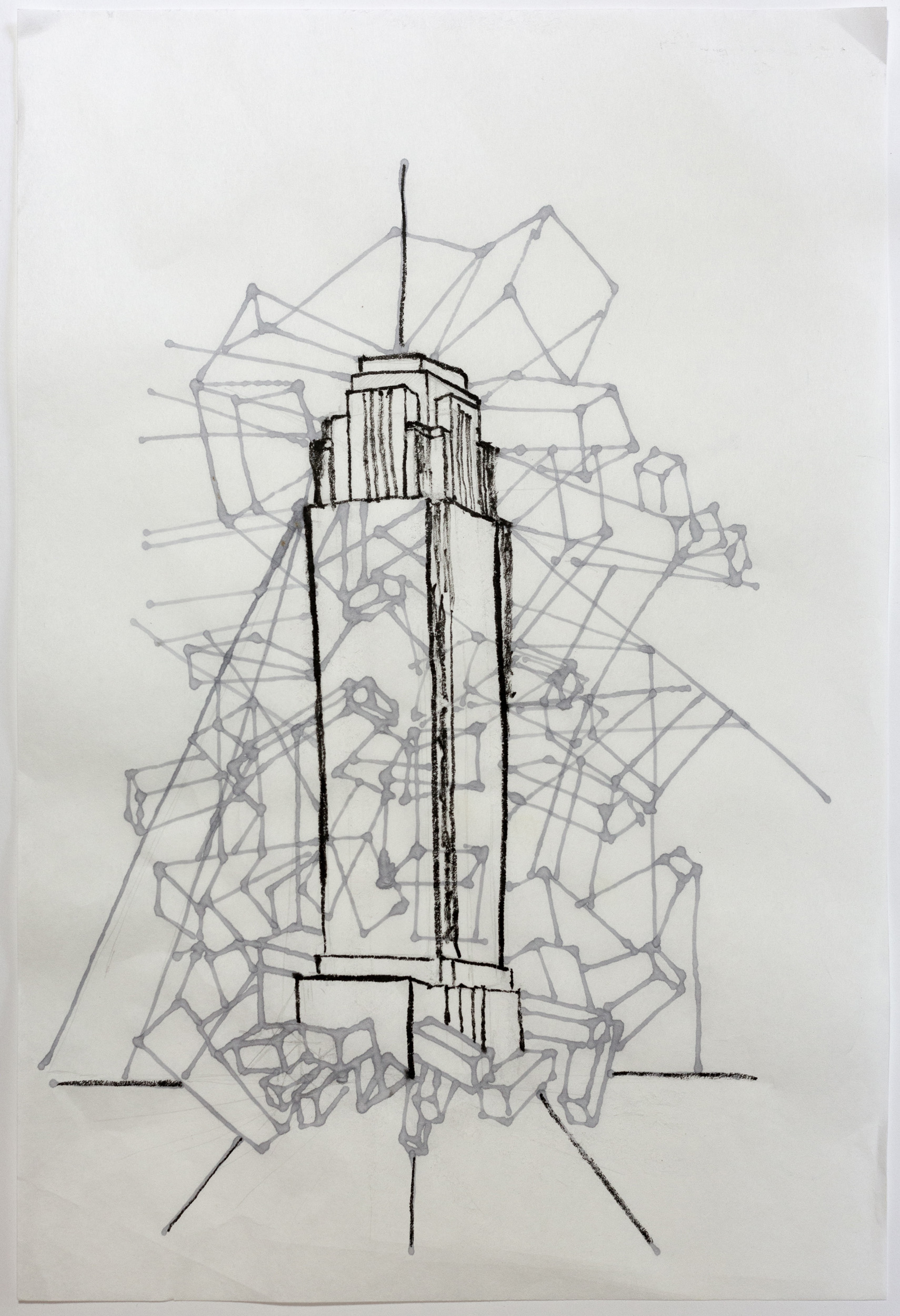 Williams Tower   Ink and Acrylic on Kuzo  18 x 12  2019