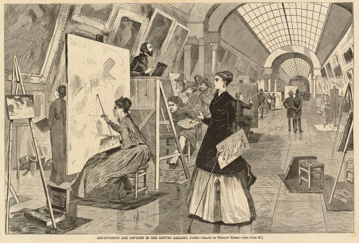 "Winslow Homer ,  Art-Students and Copyists in the Louvre Gallery ,  Paris , From ""Harper's Weekly"", January 11, 1868, p.25, wood engraving"