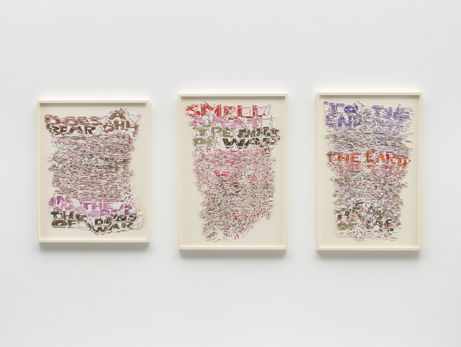 Roni Horn,  The Dogs' Chorus. Let Slip to the Ends of the Earth,  2016. Watercolor, pen and ink, gum arabic on paper with tape.