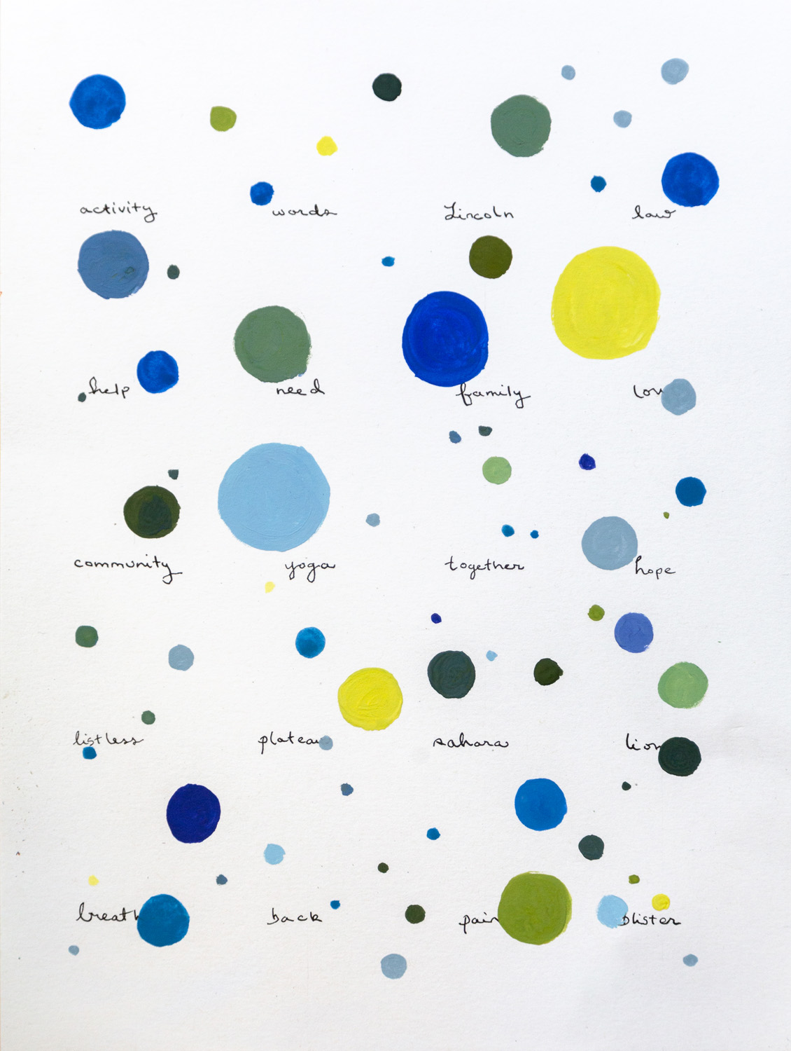 Remembered Words, Activity (after Roni Horn) , 2019  Gouache and ink  12 x 9