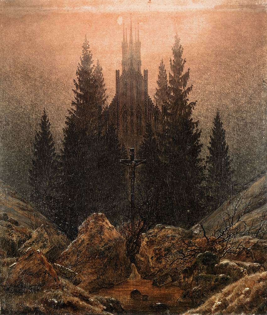 Caspar David Friedrich  The Cross in the Mountains,  1812 Oil on canvas, 45 x 37 cm Museum Kunstpalast, Düsseldorf