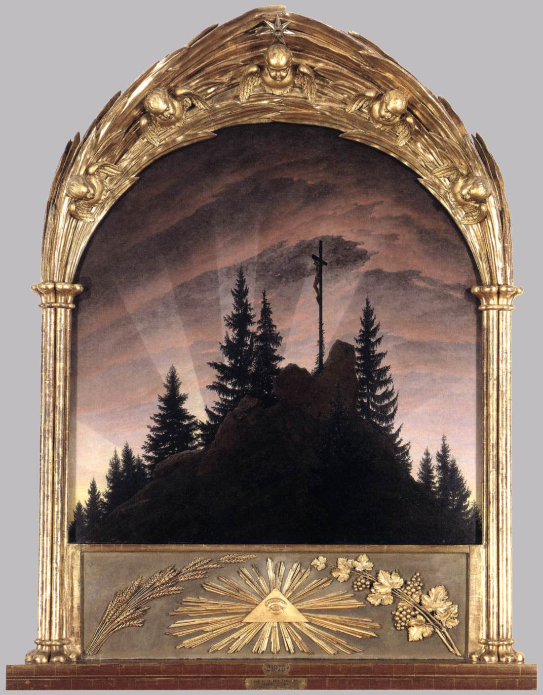 Caspar David Friedrich  Cross in the Mountains (Tetschen Altar),  1808 Oil on canvas, 115 x 110 cm Gemäldegalerie, Dresden