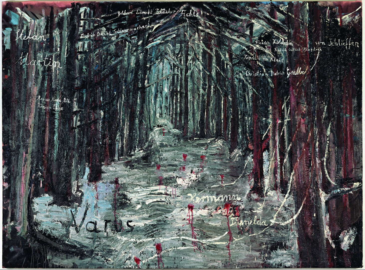 Anselm Kiefer  Varus,  1976 Oil and acrylic on burlap, 78 7/10 × 106 3/10 in Centre Pompidou