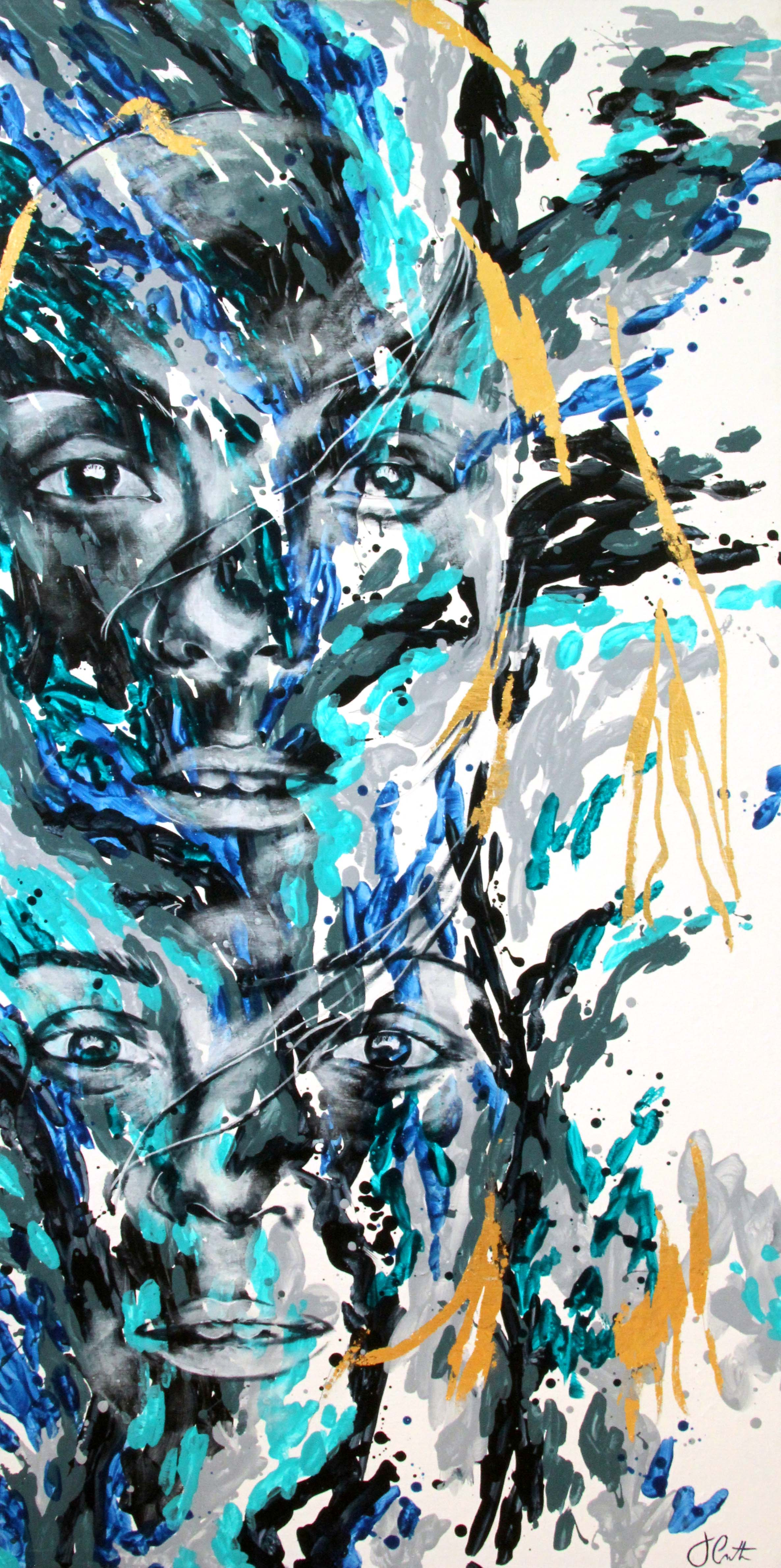 "TRANSPARENT | 24"" X 48"" | acrylic + gold foil on canvas | 2016"