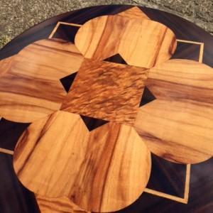 Highlighting the wonderful veneers on this restored art deco coffee table