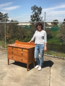 Sally our woodworking student and her wonderful restored chest of drawers