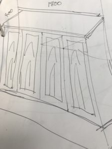 sketch of timber cabinet