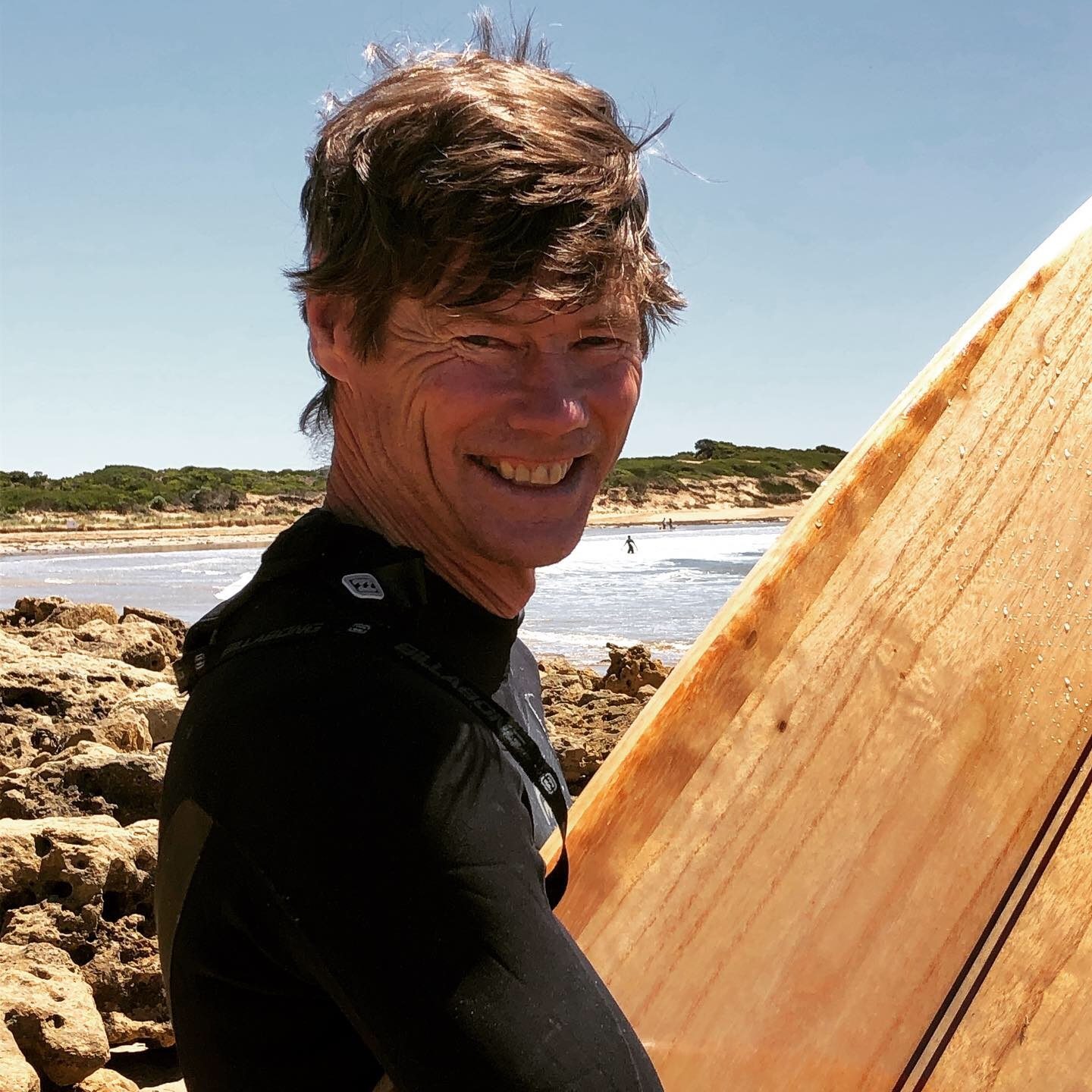 Phil a very happy surfboard maker taking his board out for its inaugural surf.