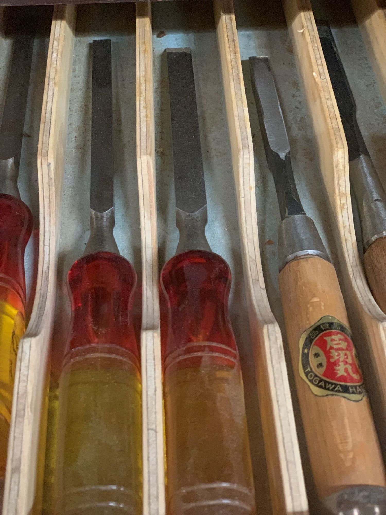 A mix of English and Japanese mortice chisels which Stuart has had for over 32 years and are still going strong.