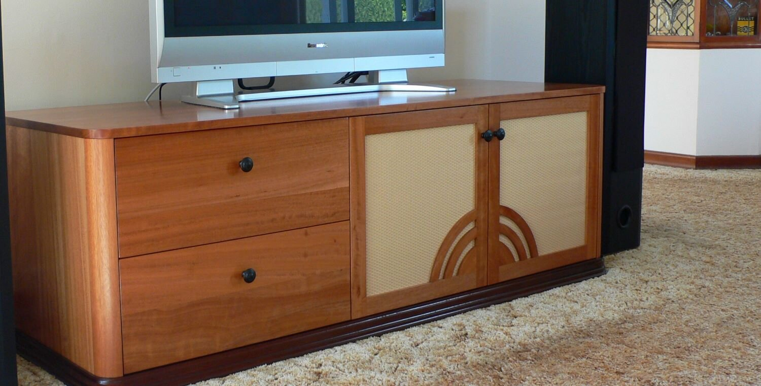 Beautifully designed and made by Stuart this Art Deco Inspired entertainment unit is a crowd pleaser
