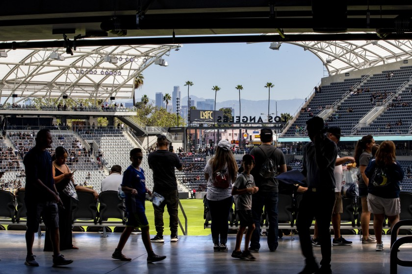The Banc of California stadium, which was designed by Gensler, is an inspiration for San Diego State University's stadium. (Los Angeles Times)