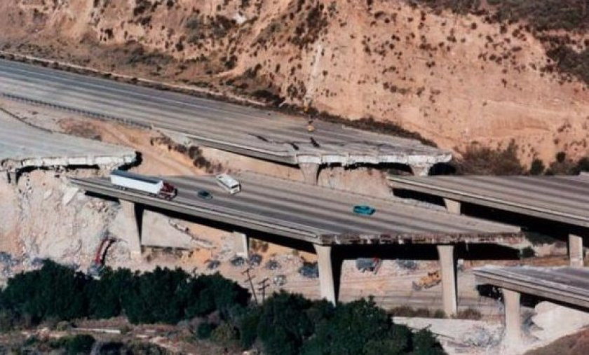The 6.7 Northridge quake caused portions of Interstate 5 at Gavin Canyon to collapse. USGS