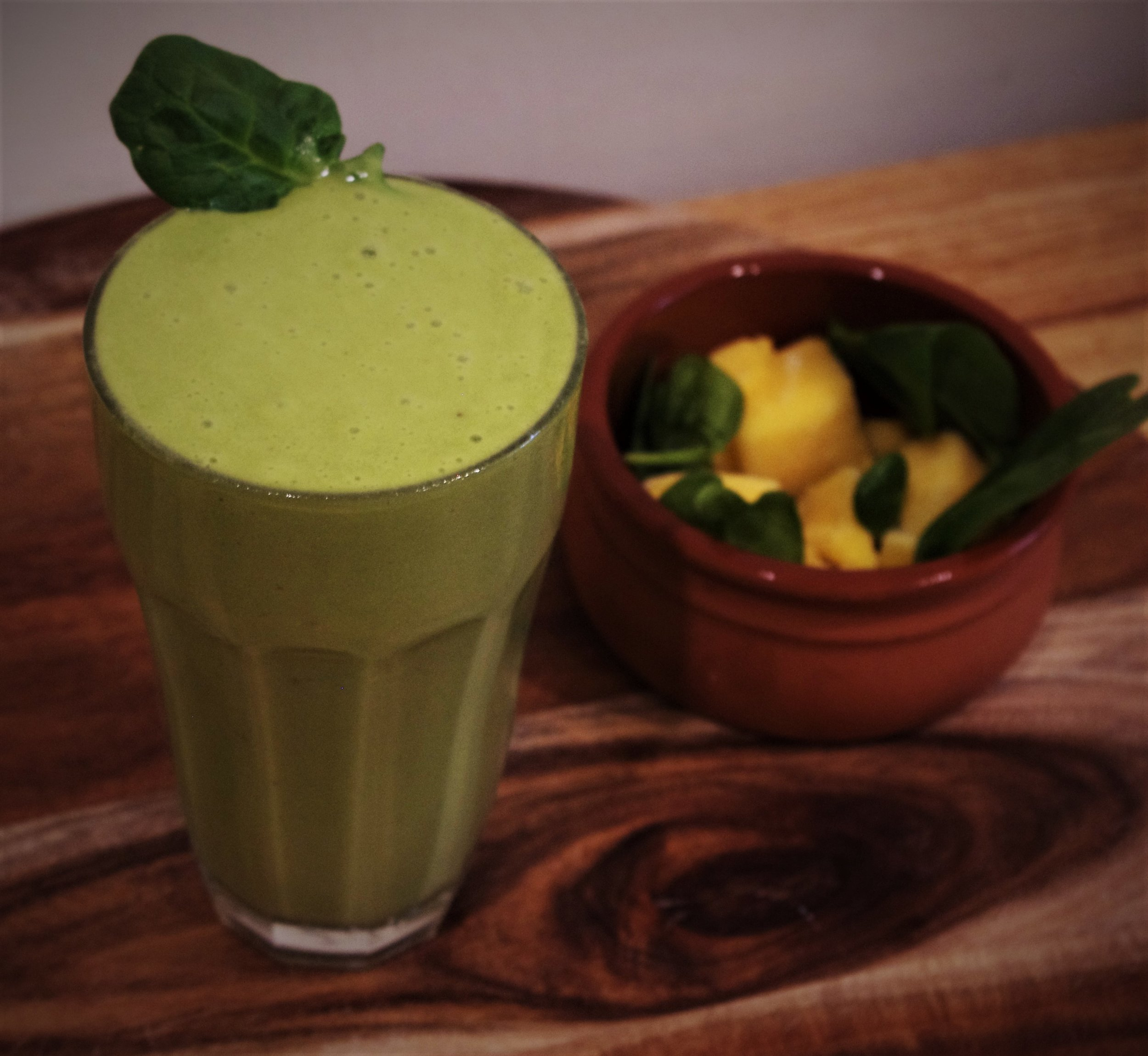 Another favourite! A mango and spinach smoothie with peanut butter! You can't even taste the spinach!