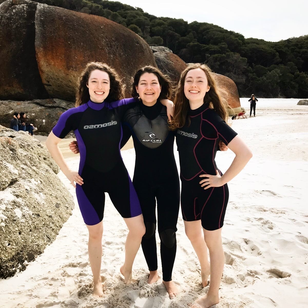 The musical trio!  @meliaallan  and  @frannyandzooeymusic  seriously can't get enough of each other! We gig together, hike together and now go on holidays together wearing wetsuits - damn we're cool!