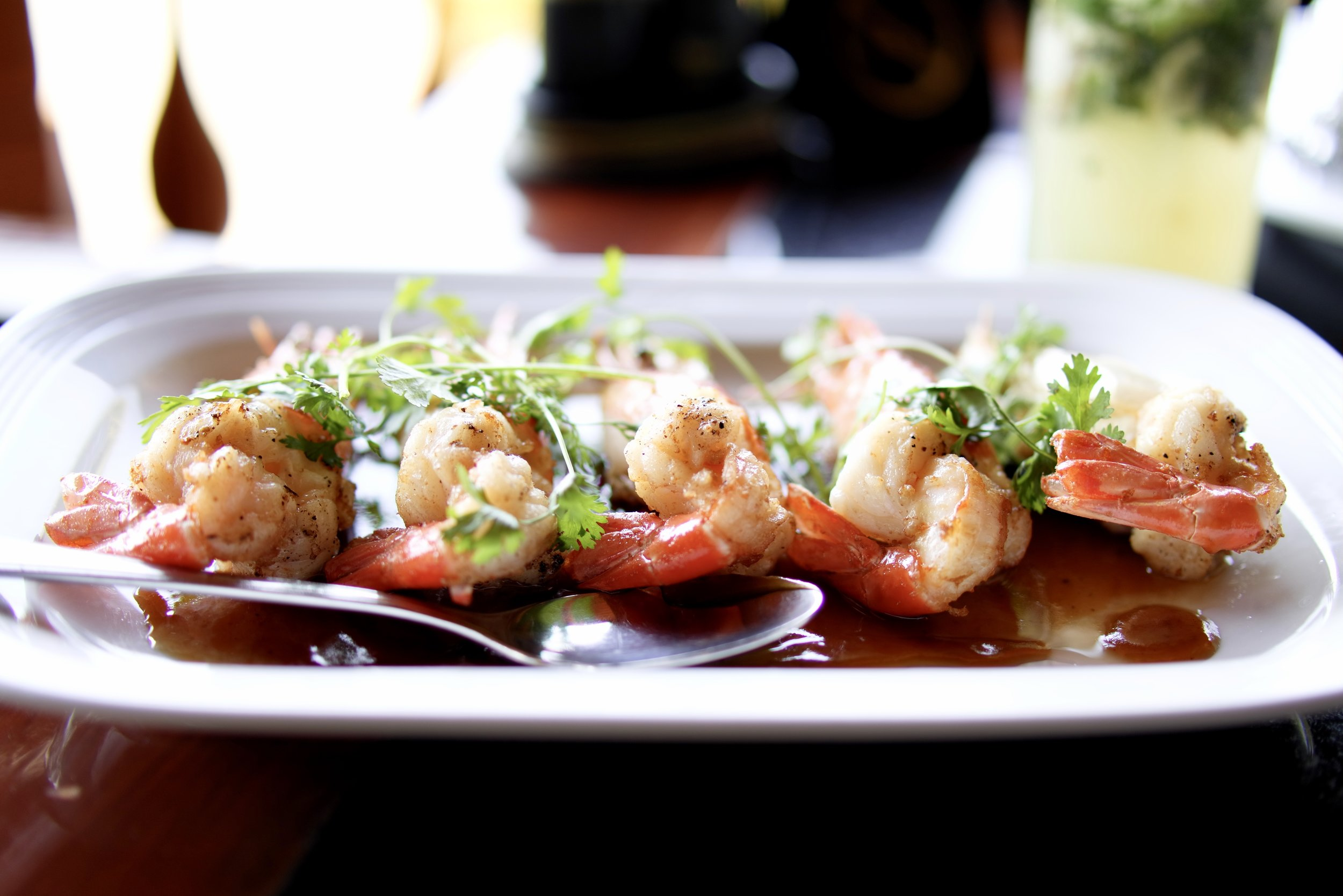 Visit the Oar House for tasty, freshly grilled prawns for lunch today.
